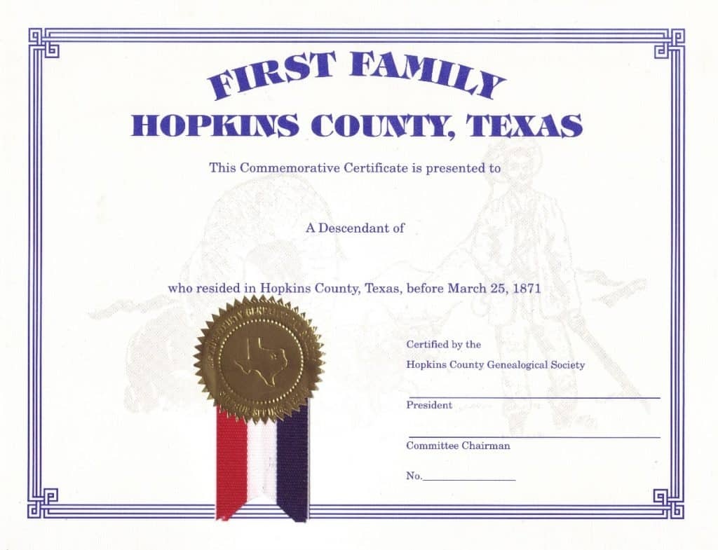 First family certificate hopkins county genealogical society aiddatafo Choice Image